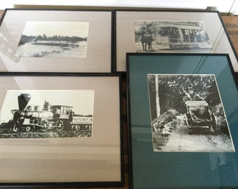 4 Antique Framed California Early transportation Photographs