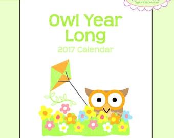 2017 desk or CD Owl Calendar instant digital download printable gift desktop calendar