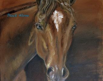 Digital Portrait of a Bay Horse (JPG)/horse art/wall art/digital picture/download/Printable Art/to print/