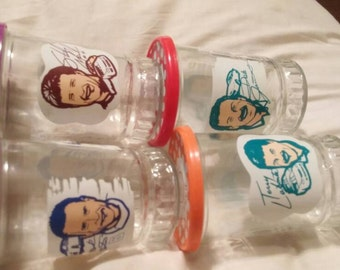 Vintage Lot of 4 Bama jelly jars with lids. Nascar. LaBonte,Martin,Marlin and Dale Jarrett. Champion Driver Series.
