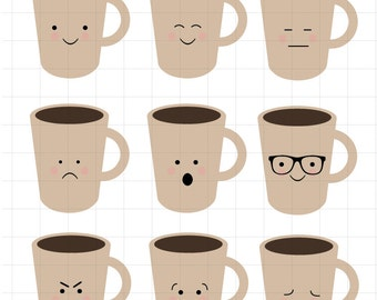 INSTANT DOWLOAD   Coffee Mugs with Faces Clipart ScrapbookCupcake Toppers for Personal and Commercial Use