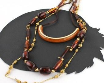 Boho 70s Tortoise Shell Necklace Set