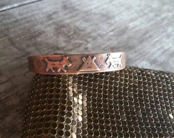 Unique Copper Child's Cuff Bracelet with Native American Design