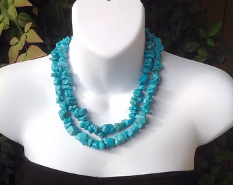 Chunky Turquoise Necklace. Double Strand Turquoise Necklace. Turquoise Necklace. Turquoise Nugget Necklace.