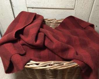 Mill  Dyed 100%  Wool Fabric Fat Quarter Red Cinnamon Candy Stripe  W229