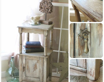 Shabby Farmhouse distressed cabinet night stand/occasional table