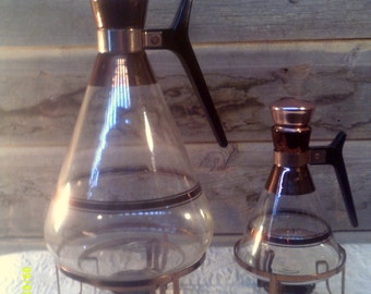 Vintage Glass Coffee Tea Carafe with Warmer Stand, Glass Coffee Carafe, Individual Coffee, Carafe with Warmer, Glass Coffee Pots