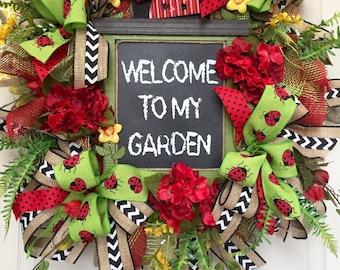 Ladybug Mesh Spring and Summer Wreath