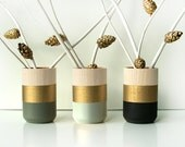 Set of 3 Painted Wooden Vases Home Decor Gold