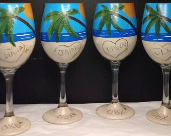 Beach Wine Glass Palm Trees Ocean