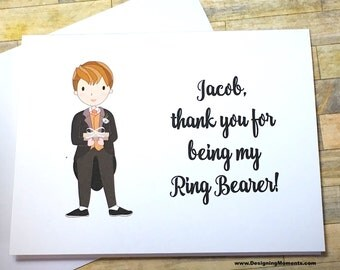 Personalized Ring Bearer Card - Thank you for being my Ring Bearer Tuxedo Card - Wedding Stationery - Ring Bearer Thank You Card DM244