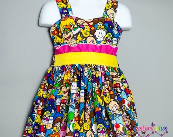 Mario Themed Dress ~ Easy ties in the back ~ Sizes 6-12 Months to 8
