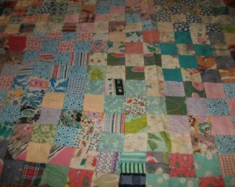 Wonderful Hand StitchedVintage Postage Stamp Quilt Front Section