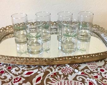 "Set of 6 Vintage Tall Shot Glasses ""Chiselers"""