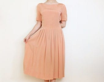 Vintage 1940s Day Dress / Size S Small 6/2/34