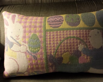 Easter Bunny & Eggs Decorative Tapestry Pillow