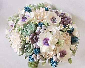 Clay wedding bouquet Keepsake Bridal bouquet with succulents, dahlia, anemones and peonies White Purple navy blue bouquet Deco clay bouquet