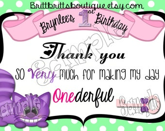 Onederland thank you first Birthday party thank you Custom Birthday thank you cards 4x6 or 5x7 Digital OR Printed with envelopes