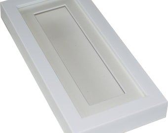white deep shadow box display frame 10x4 tall for medals pocket watcheskeepsakes decoupage jewellery etc