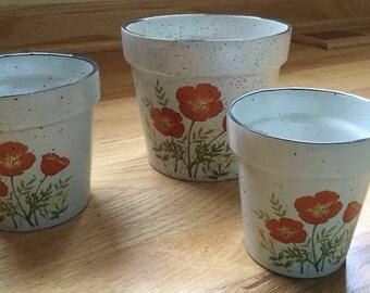 Adorable Vintage SET of 3 Japan Speckled Stoneware Poppies ~ MINT!