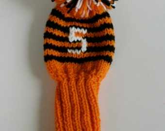 Set of 5 Hand Knit Golf Club Covers in Orange/Black with White Numbers
