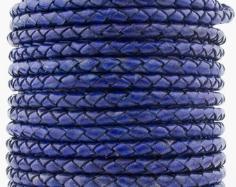 Violet Natural Dye Genuine Round Bolo Braided Leather Cord 4 mm 1 Yard