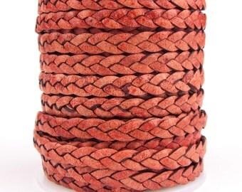 Turkey Red Natural Dye Flat Braided Leather Cord 5mm 1 Yard