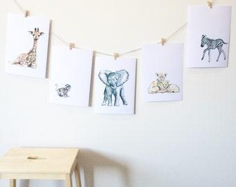 Safari Nursery Prints, Animals Art Prints, A5, A4, Baby Shower, Birthday, Kids Room, Giraffe Monkey Elephant Lion Zebra, Jungle Watercolour