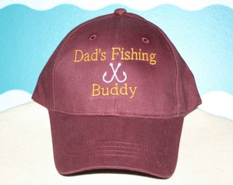Youth baseball fishing hat - childs baseball hat - Dad's  fishing buddy ball cap - embroidered fishing hat custom fishing buddy baseball hat
