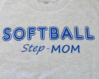 Step mom softball graphic tshirt - custom step mom t-shirt -mothers day gift - mothers day shirt