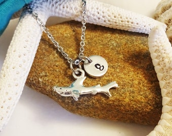 3D SHARK NECKLACE in silver tone - personalized with initial charm - choice of chains