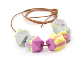 Pale Grey Lemon Mauve Geo Bead Resin Necklace. Large Chunky Faceted Statement Beads on Natural Leather Cord. Ready to Ship. Australian Made