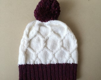 Handknit White Cable Hat