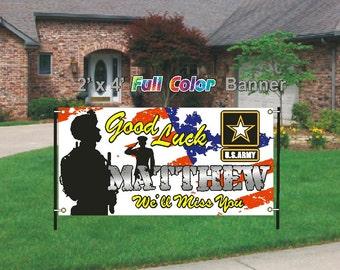 Good Luck Banner, Army Good Luck Going Away Banner, We'll Miss You Banner