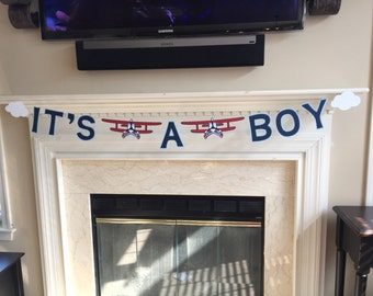 It's A Boy Vintage Airplane Banner, vintage airplane baby shower, precious cargo theme, up up and away theme, welcome aboard baby
