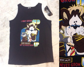 XL 1995 'I may grow old but ill never grow up' Mr Bear singlet