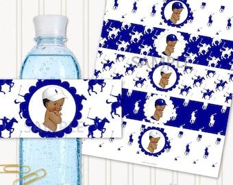 Water Bottle Labels | African American Ponies Navy Blue & White | Little Prince Vintage Baby Boy | Digital Instant Download