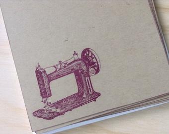 vintage inspired flat note cards and envelopes, stationery set, vintage sewing machine,  set of 10