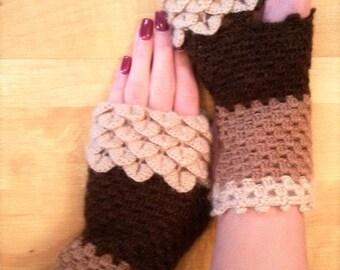 Fingerless Gloves Crocheted crocodile stitch mittens . Winter Accessories.