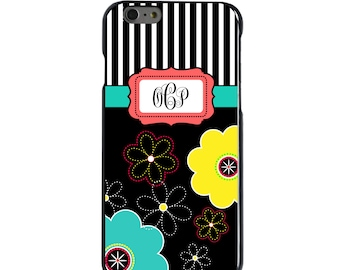 Hard Snap-On Case for Apple 5 5S SE 6 6S 7 Plus - CUSTOM Monogram - Any Colors - Black White Yellow Flower