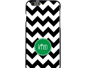 Hard Snap-On Case for Apple 5 5S SE 6 6S 7 Plus - CUSTOM Monogram - Any Colors - Black White Chevron Green Circle