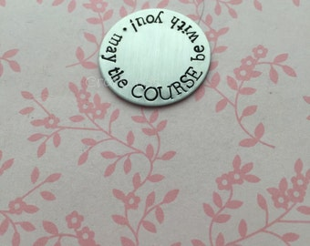 Hand Stamped Golf Ball Marker, personalised, hand stamped, your words, golf flag, ball on tee, golf clubs, fathers day, golfers gift, small