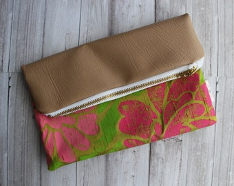 SALE - Pink Moss Fold Over Clutch