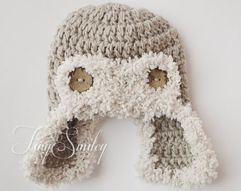 Aviator Baby Hat, Newborn Photo Prop, Beige Aviator Baby Hat, Baby Boy Crochet Hat, Earflap Beige Hat, Newborn Baby Boy Hat