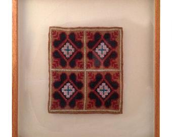 Vintage Framed Hand Stitched Textile