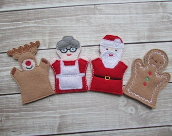 Christmas Finger Puppet Set, Santa Finger Puppet, Stocking Stuffer, Christmas Gift