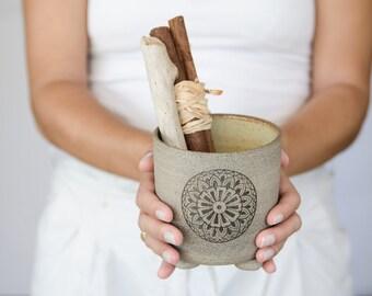 Utensil holder, kitchenware, ceramic kitchen utensil holder, toothbrush dryer, mandala decoration, wedding gift, made for order