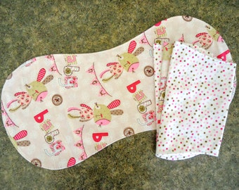 Flannel baby burp cloths, set of four, in pink and tan and polka dots, two layer absorbent flannel burp cloths