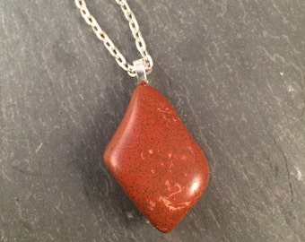 Red Stone Pendant Necklace, OOAK Polished Stone on Long Chain
