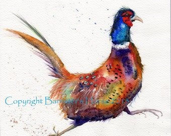 Running Pheasant, fine art, Giclee Watercolour Painting Print A4. Archival quality inks